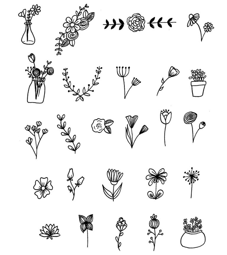 #doodles #journal #floral #bullet #your #for25 Floral Doodles for your Bullet Journal 25 Floral Dood...