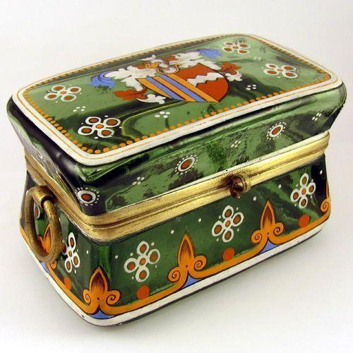ANTIQUE BOHEMIAN MOSER ENAMEL GLASS JEWELRY CASKET BOX HERALDRY COAT OF ARMS   eBay