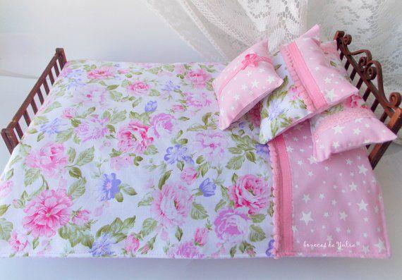 Doll 6 pcs pink purple green bedding set Barbie Monster high Blythe Bratz 1/6 bjd 12 inches doll bed #bearbedpillowdolls
