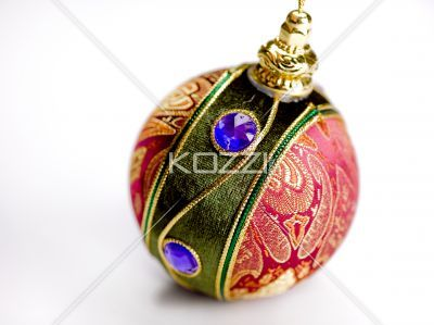 Fancy Chrsitmas Ball - A decorative Christmas ball on a white background with copy space