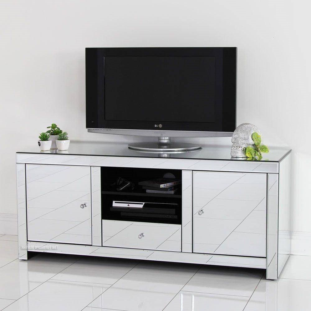 Mirrored TV Stand Glass Cabinet Contemporary Decor