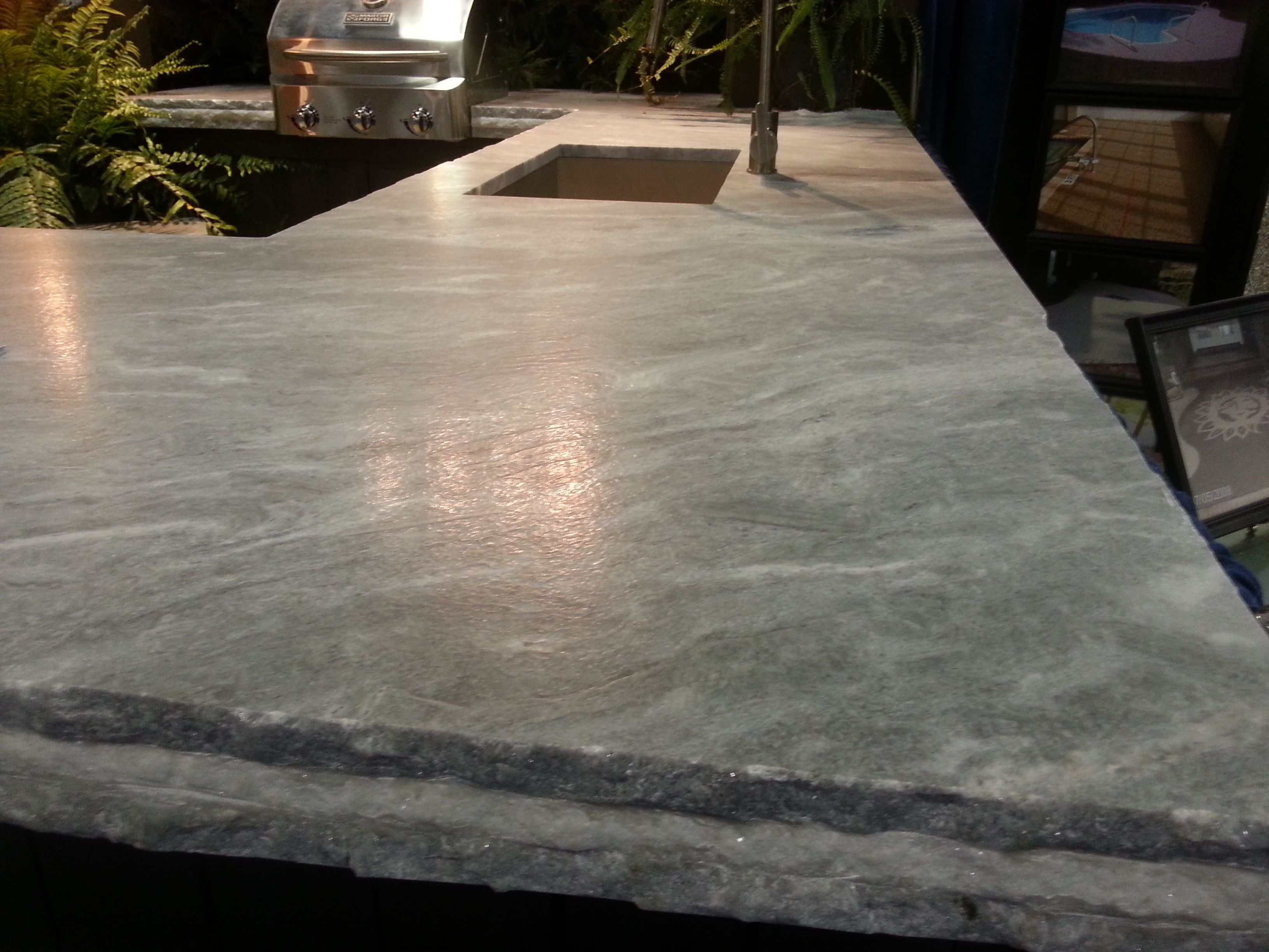 Sky White Quartzite With A Leathered Finish And A Triple Layered