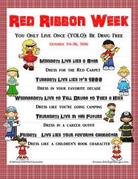 Drug Prevention Week Flyer Editable Red Ribbon Week Red