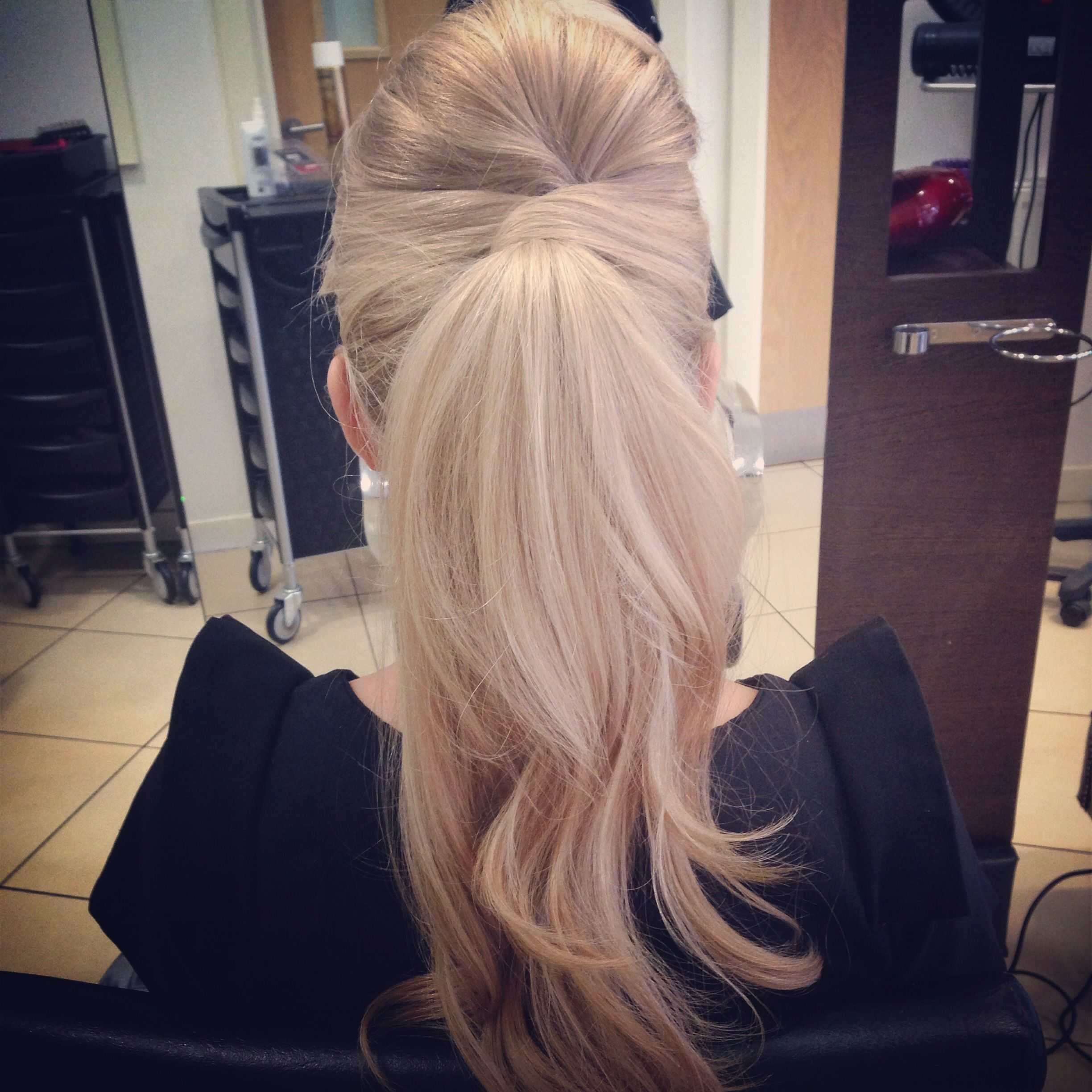 Updo for long hair, curly ponytail