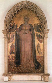 Scuola Fiorentina, fine XIV secolo, Madonna del parto con le personificazioni delle virtù , Pinacoteca Vaticana: