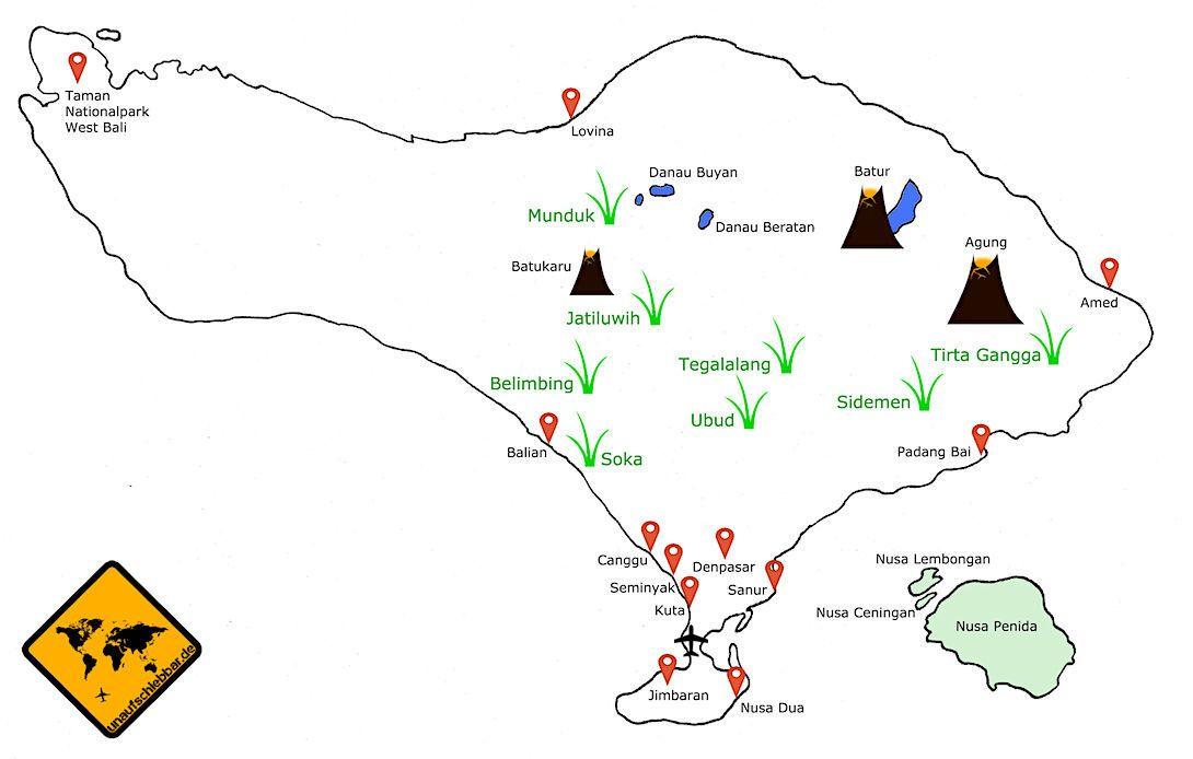 Bali Karte   Bali, Bali urlaub und Reisen