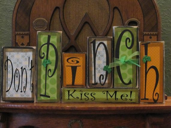 St Patrick's Day Sign  Don't Pinch  Kiss by PunkinSeedProduction, $42.00