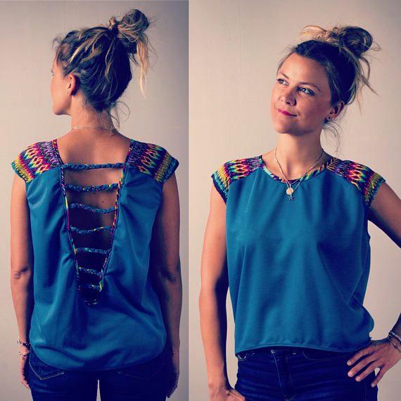 Pour T FemmeHaut Nu EthniquesDos Top Bleu Motifs Shirt Et 0Ok8nwP