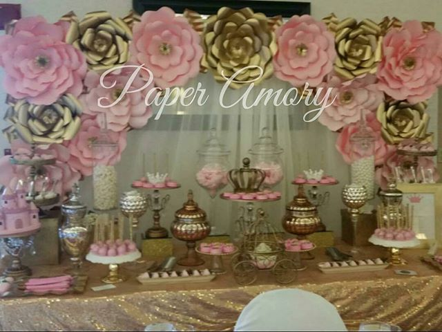 Picture Of Today S Quinceanera Setup Pink Blush Gold Paper
