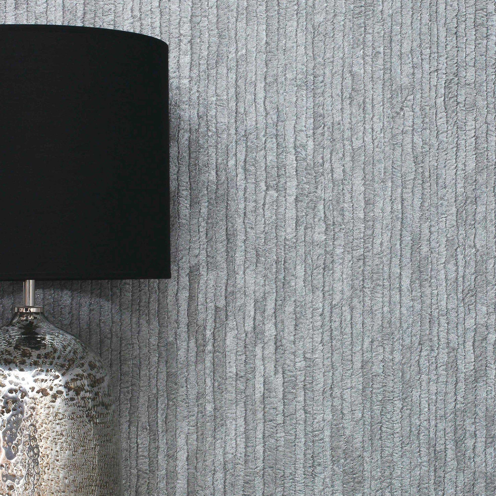 Bergamo Leather Texture Dark Grey And Silver Wallpaper Si