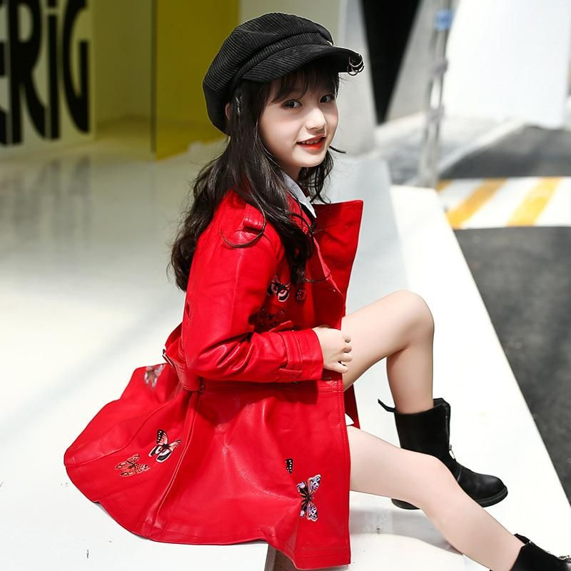 Autumn Winter Girls Jackets And Coats Girls Pu Leather Coat