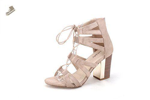 3dd7c64bb56 Mila Lady Lisa 1 Womens Lace -Up Chunky Heel Fashion Sandal NUDE 6 - Mila  lady pumps for women ( Amazon Partner-Link)