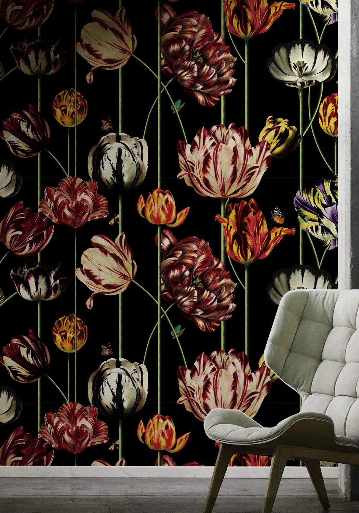 Tulipa, Large Scale Floral Wallpaper • Bold & Unique