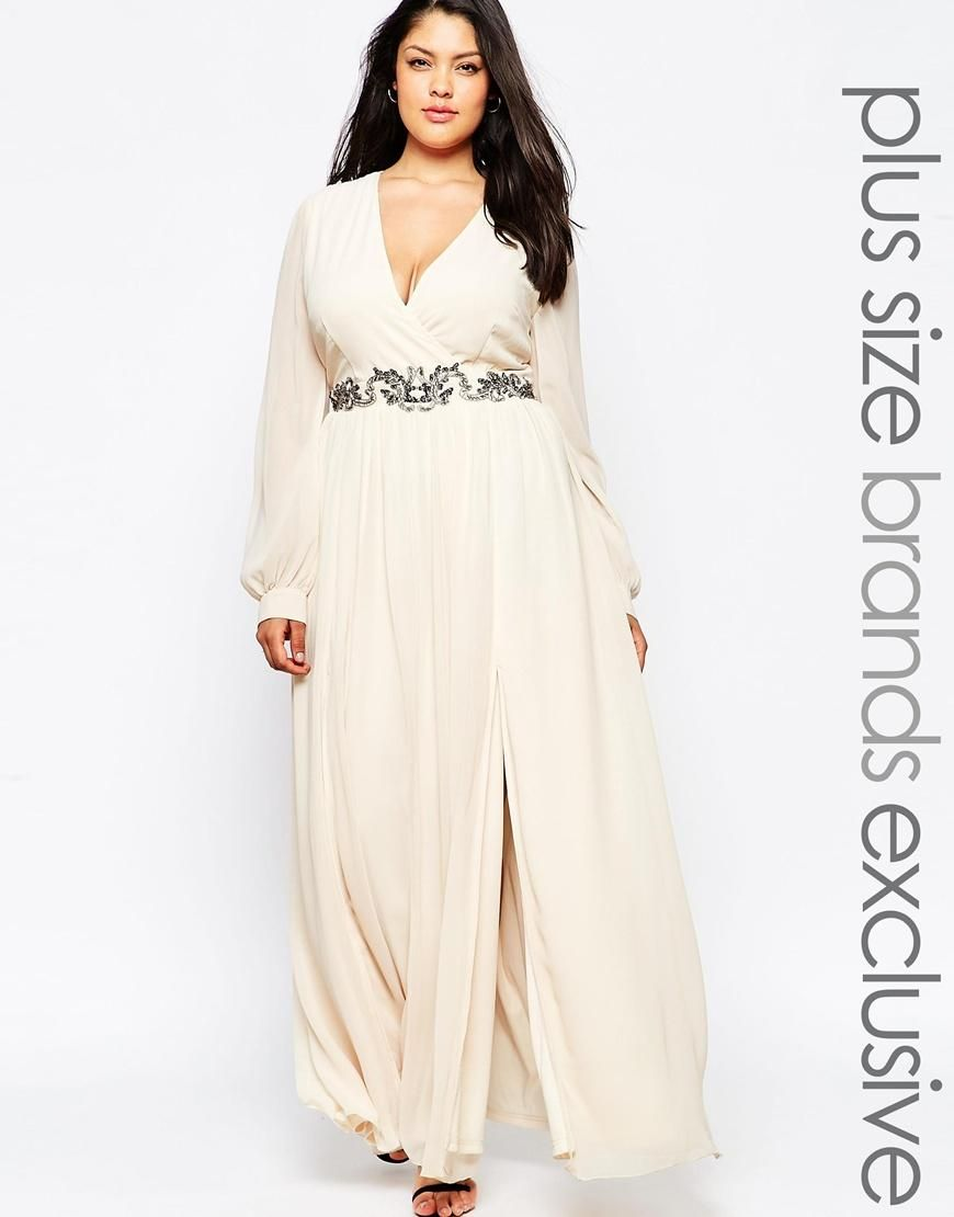 Little Mistress Plus | Little Mistress Plus Wrap Maxi Dress With ...