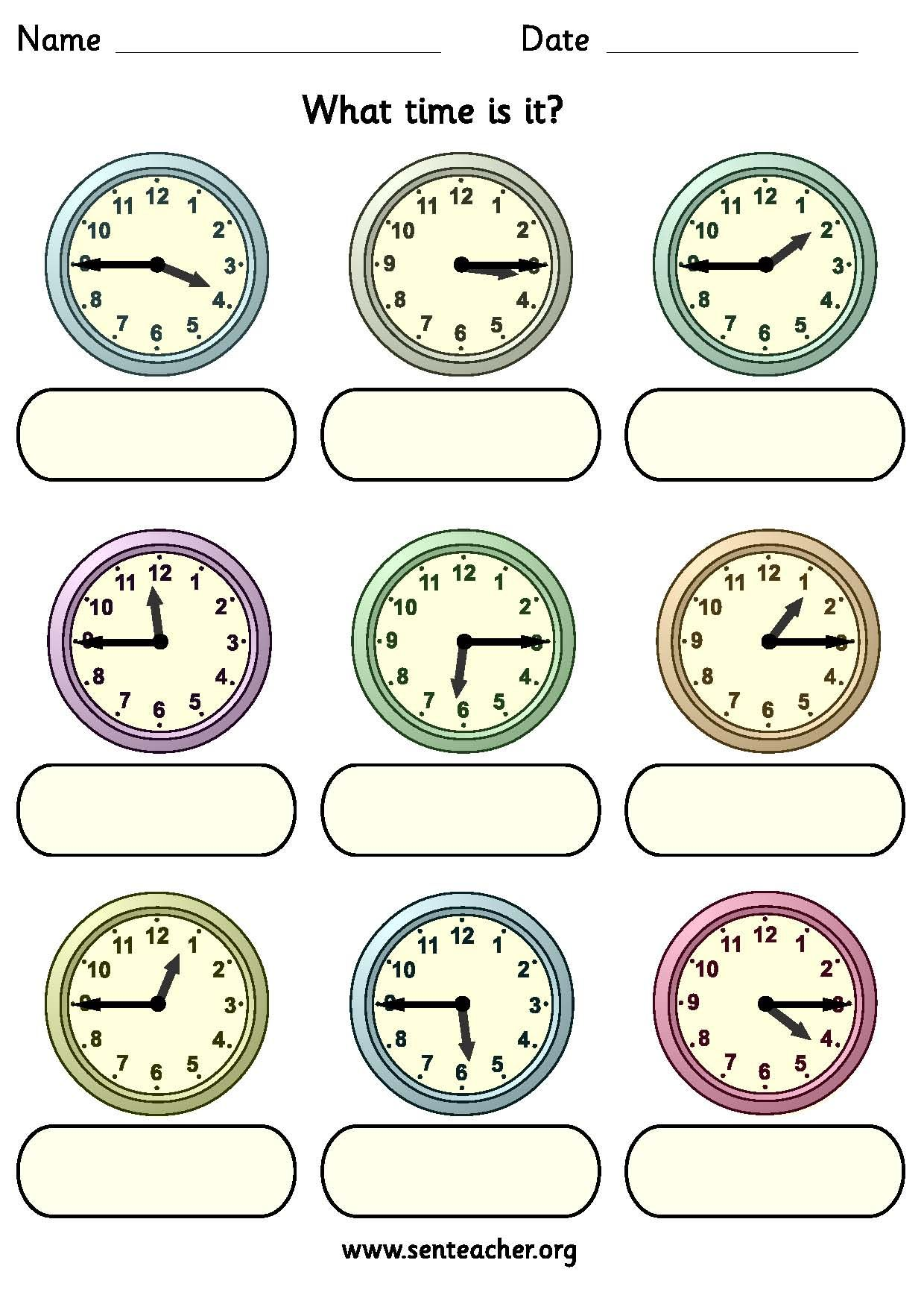 Worksheet Containing 9 Analogue Clocks Showing Quarter To And