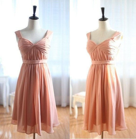 Peach Knee Length Dress