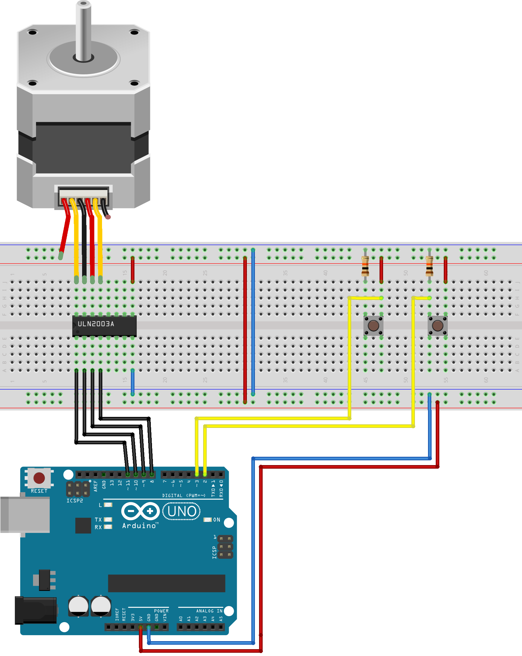 Project 17 stepper motor direction control using 2 buttons for Arduino and stepper motor