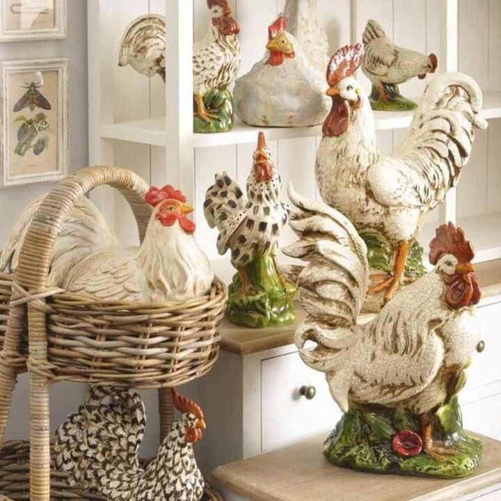 Happy Lil Chickens Cute French Chic Rooster Decor Rooster