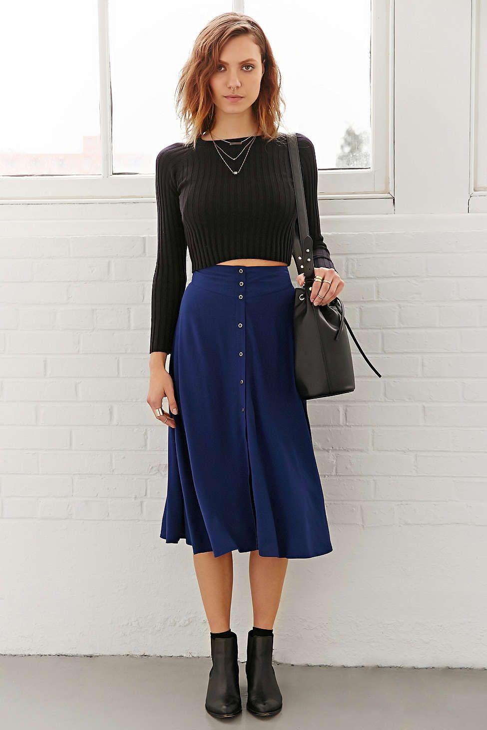 a67fa62c38b Ecote Button-Down Midi Skirt