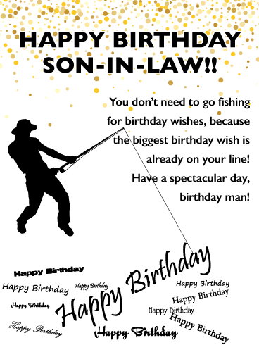 Special Fish Happy Birthday Card For Son In Law Birthday Greeting Cards By Davia Birthday Cards For Son Birthday Wishes For Son Happy Birthday Fishing