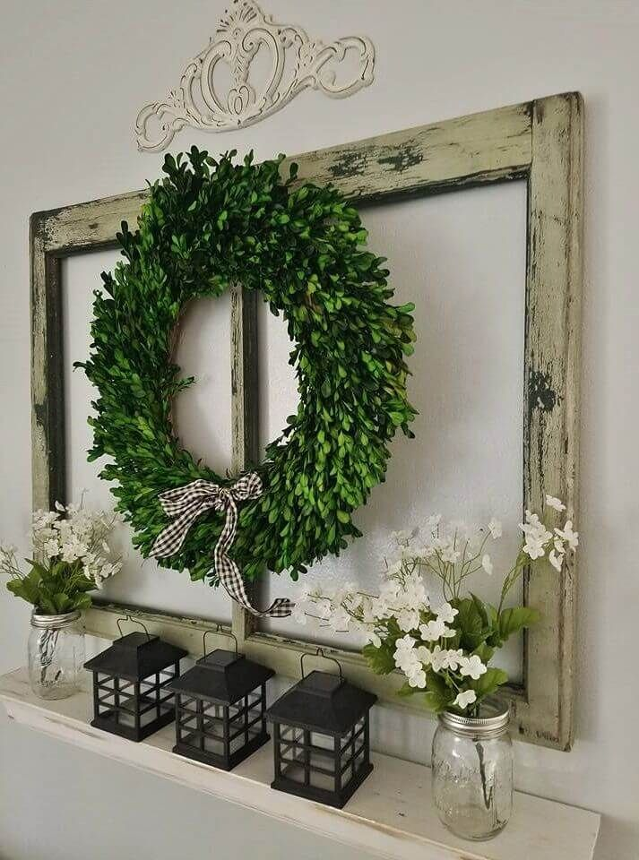 Boxwood wreath and recycled window display dining wall decor ideas also best new house images diy for home cottage cozy homes rh pinterest