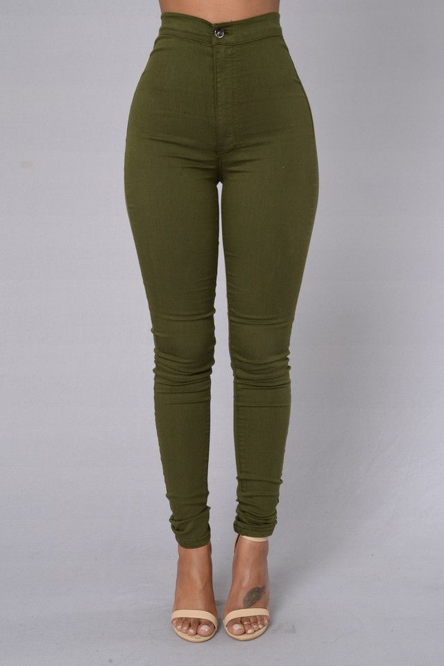 cae6a13ed9e0 Super High Waist Denim Skinnies - Olive in 2019   Jeans   High Waist ...