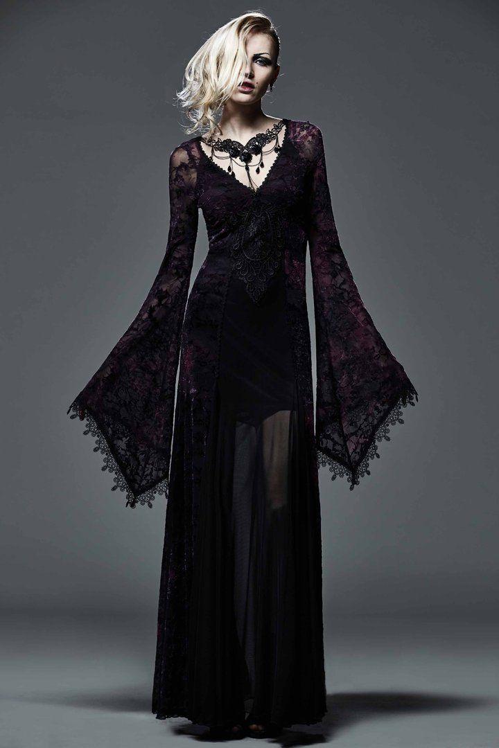 PUNK RAVE Gothic Kleid Mittelalterkleid Schwarz Lang Samt Medieval Dress Black