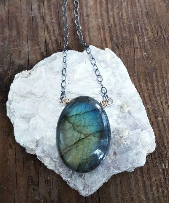 Labradorite Necklace, Gem Slice Necklace, Boho Luxe for Her