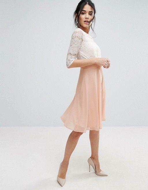 Womens Midi Scallop Lace Bodice Dress Elise Ryan iQqtCqe