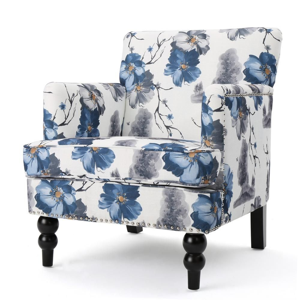 Noble House Rayna Floral Print Fabric Club Chair Club