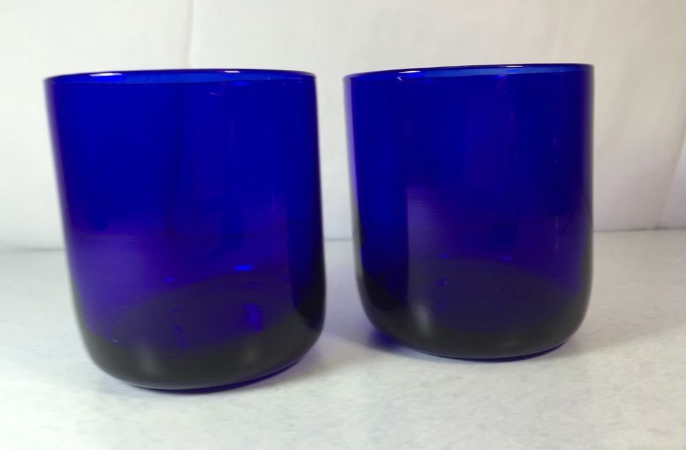 Pair of Vintage Libbey Metropolitan Cobalt Blue Old Fashioned Glasses Tumblers | eBay