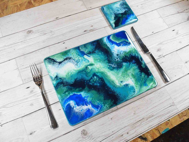 Modern Placemats With Ocean Inspired Resin Art Etsy Resin Art Modern Placemats Ocean Inspiration