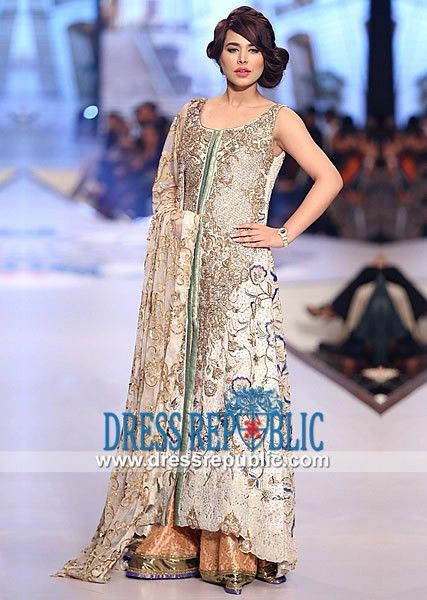 3653a4b097dd3 Off-white Round Neck Long Shirt with Sharara from Pakistani Wedding Clothes  at PBCW 2014