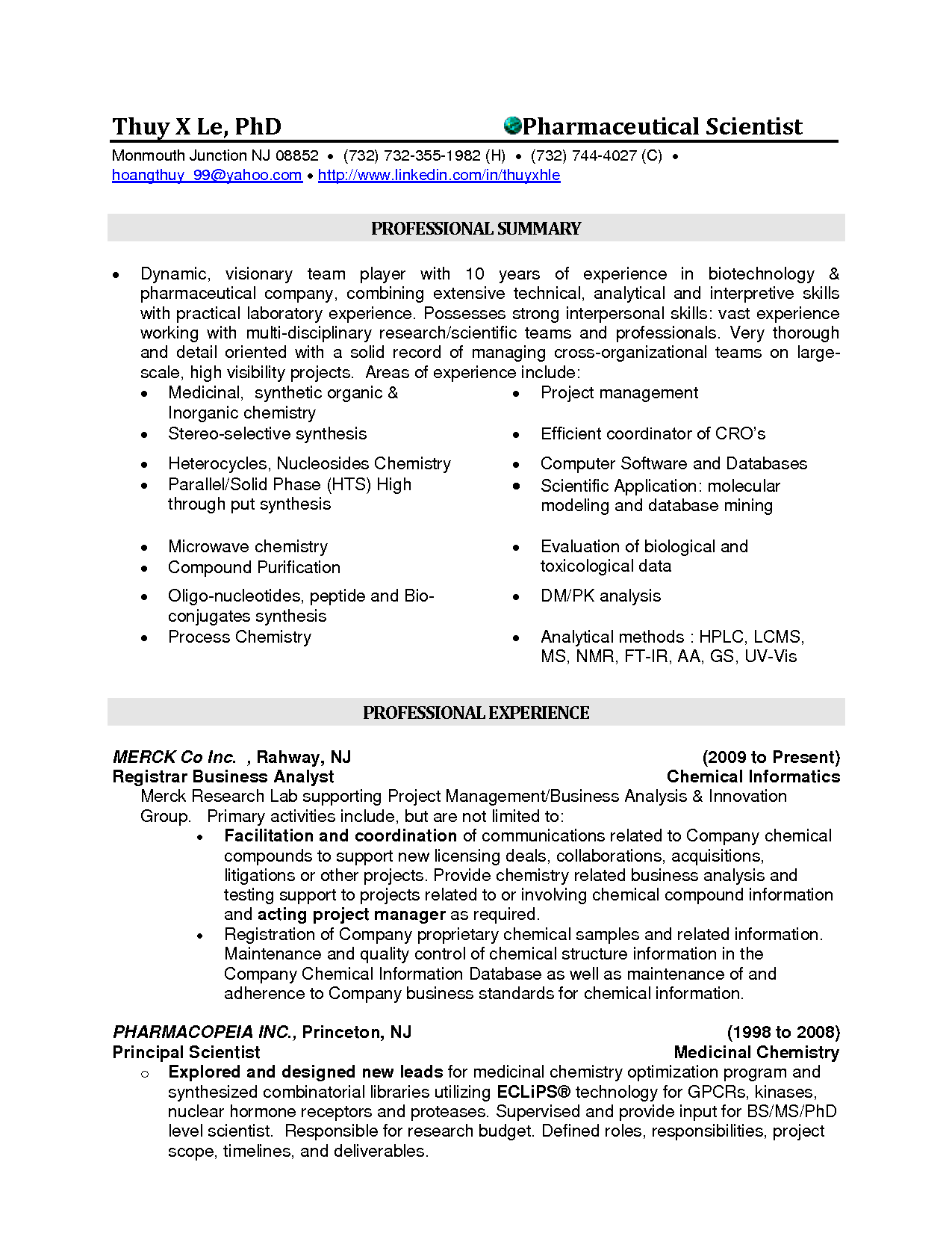 Professional Biochemist resume - Again, a summary is used as opposed ...