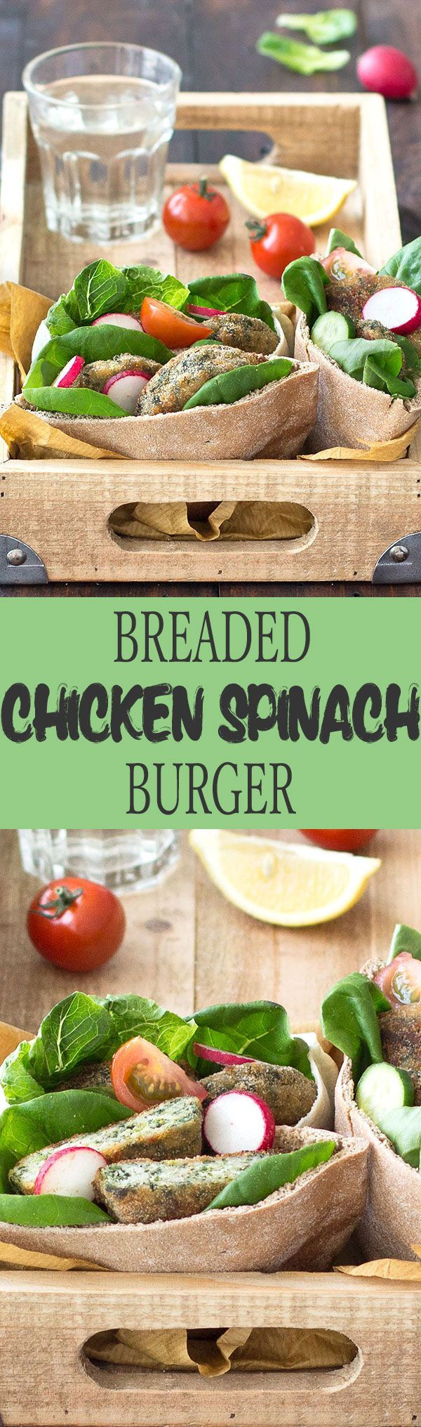 Breaded oven baked chicken spinach burgers- An easy, satisfying, 30 minutes weeknight meal everyone will love, kids and adults alike.