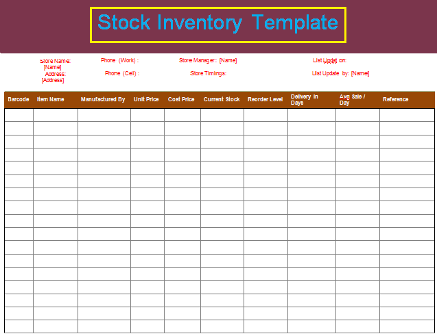 Inventory Format Stock Inventory Format  Love My Work  Pinterest  Template