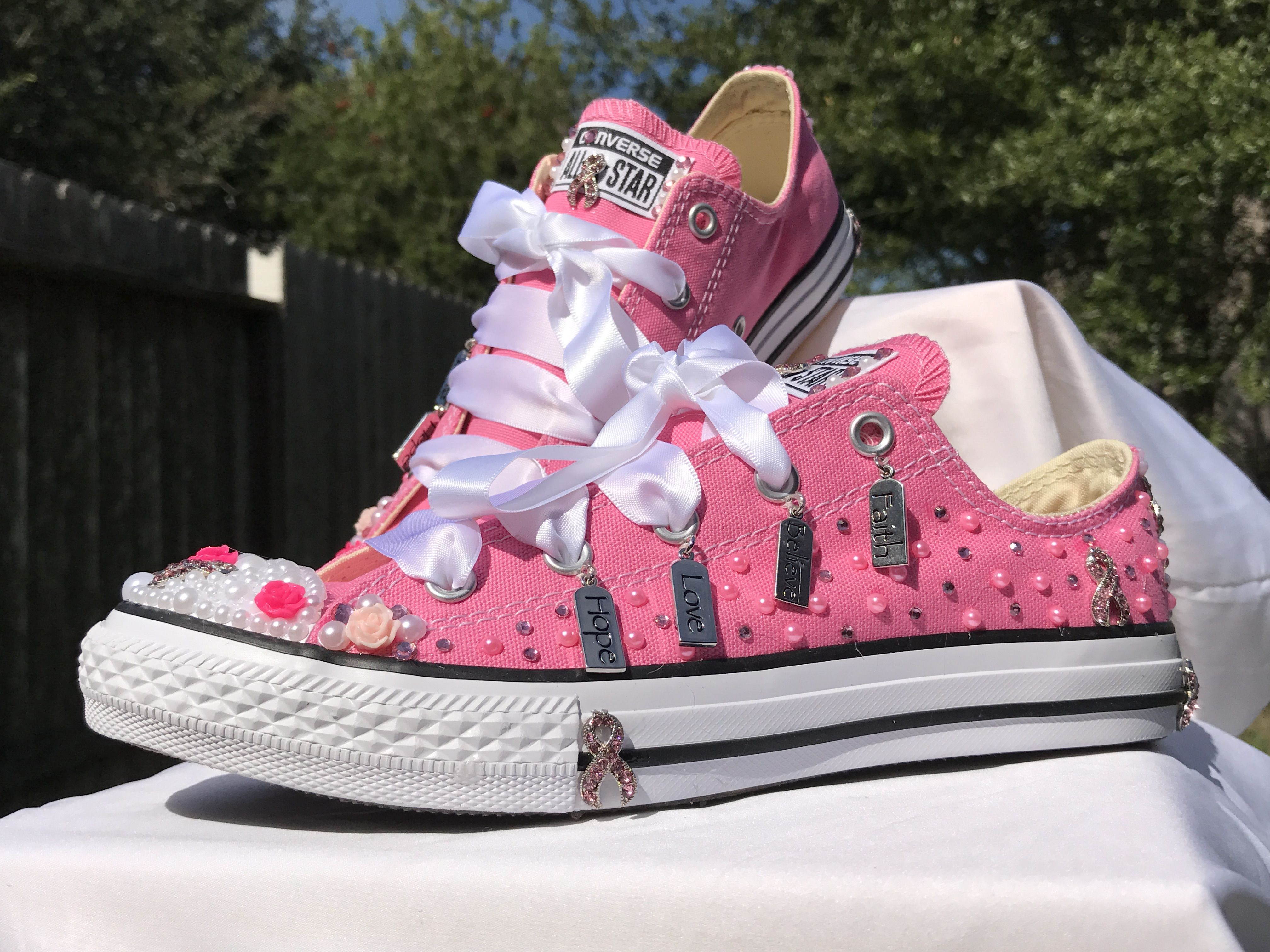 ed6afc4cbe166e Breast Cancer Custom Converse. Made to order 2 days turn around! Every  purchase a care package will be donated to MD Anderson Cancer Center.