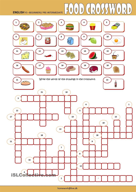 Food Crossword Cosas de ingles, Material escolar en
