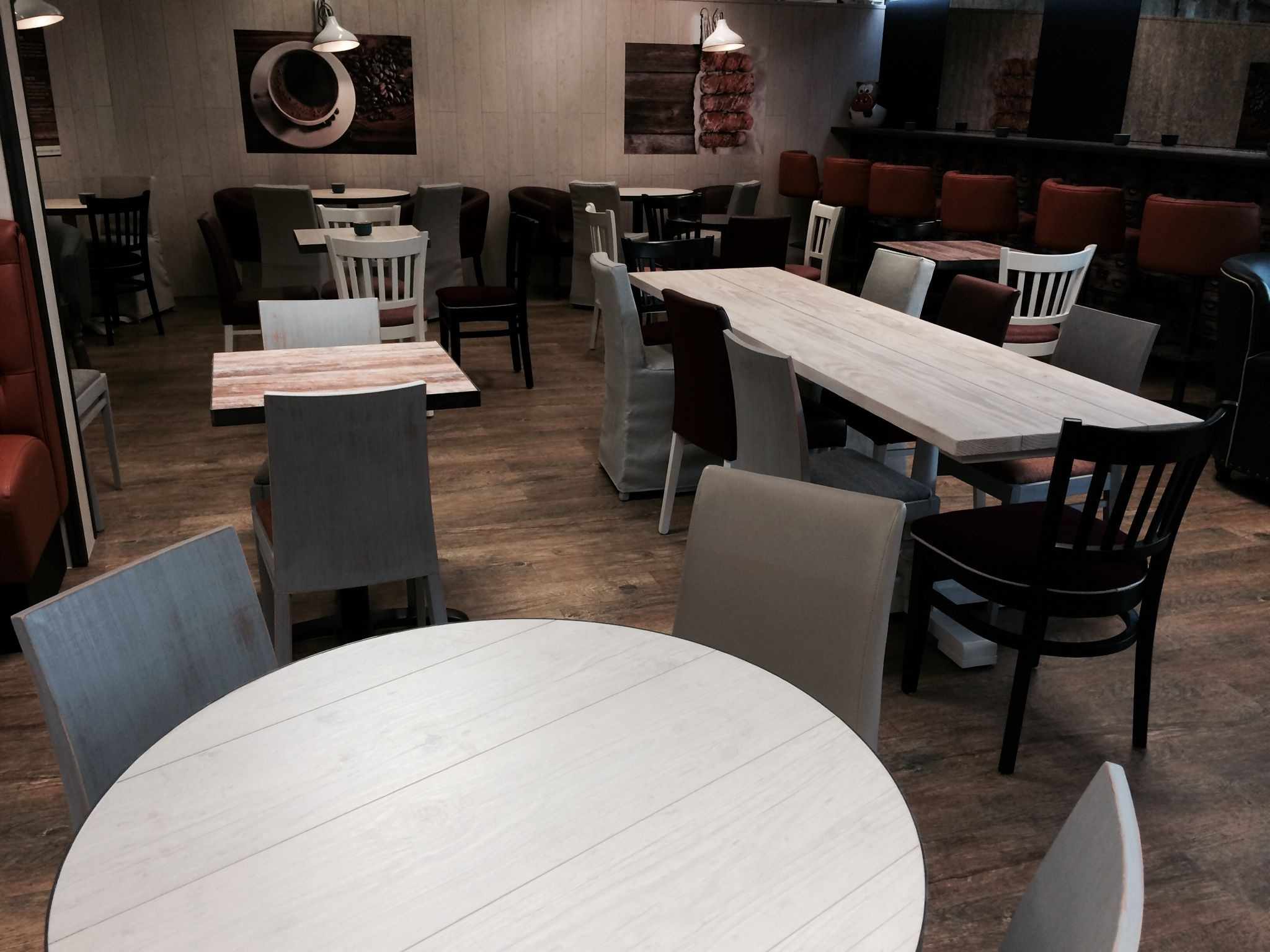 recycled cafe furniture for Wedges Bakery at Earlswood