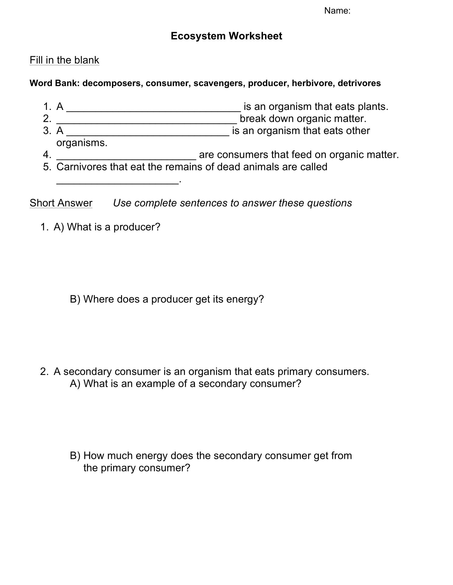 Ecosystems Worksheet Tuesday May 28 2019 Ecosystems Worksheets Worksheet Template