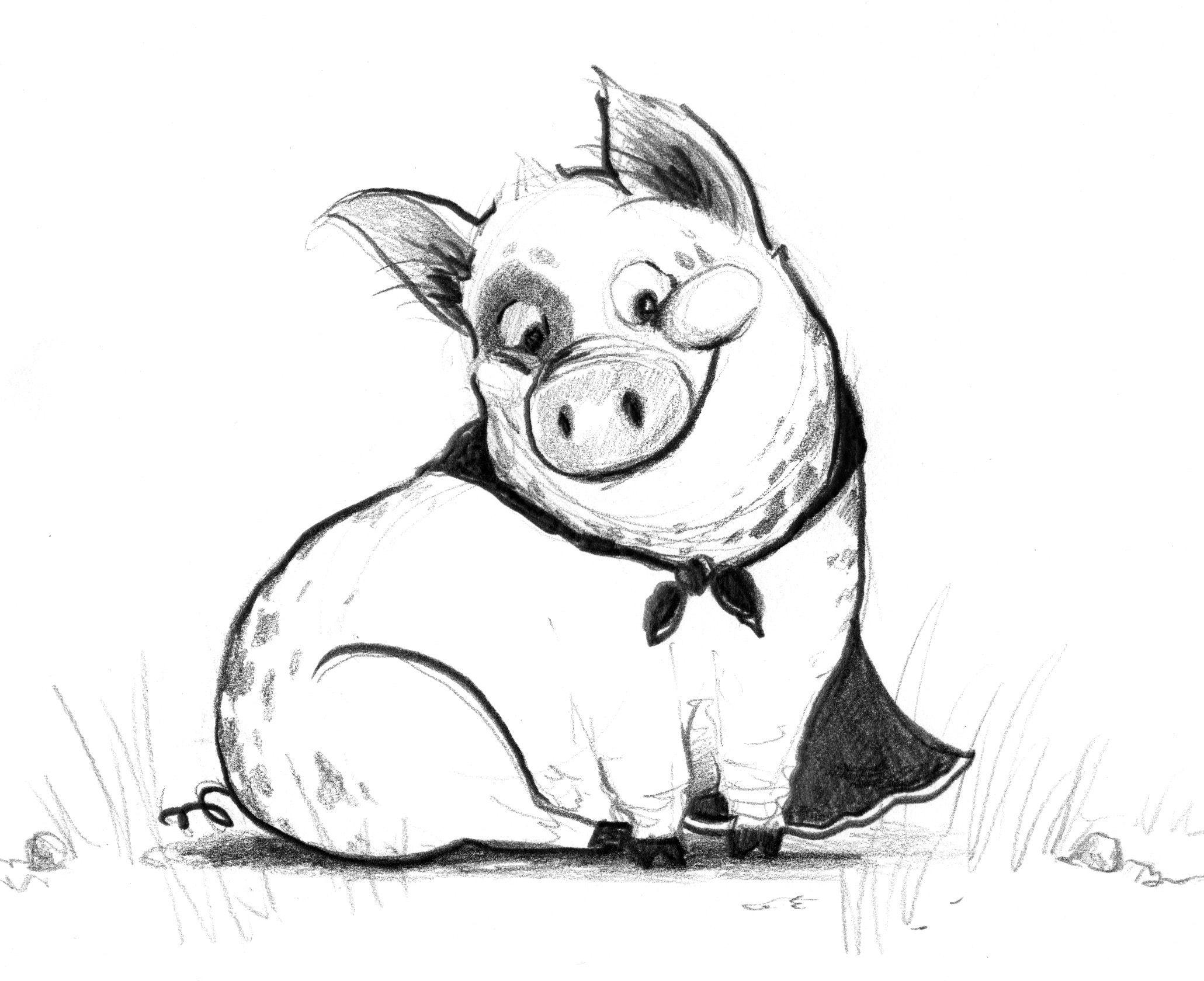 Свинья рисунок карандашом, открытки день