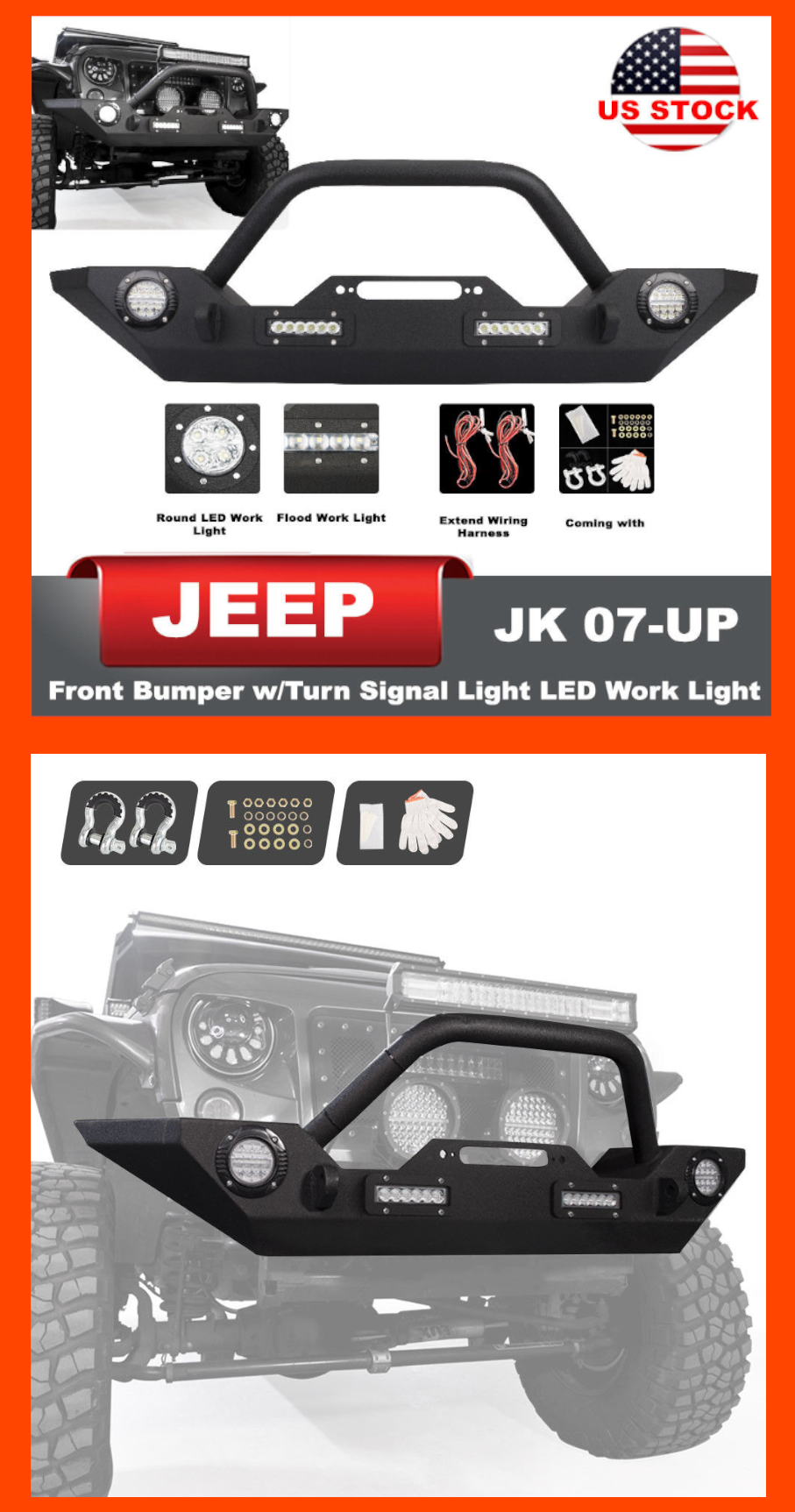 front bumper built in winch plate turn signal lights for jeep wrangler jk us 169 90 jeep jeeplife jk wrangler rubicon bumper 4wd offroad suv  [ 907 x 1725 Pixel ]