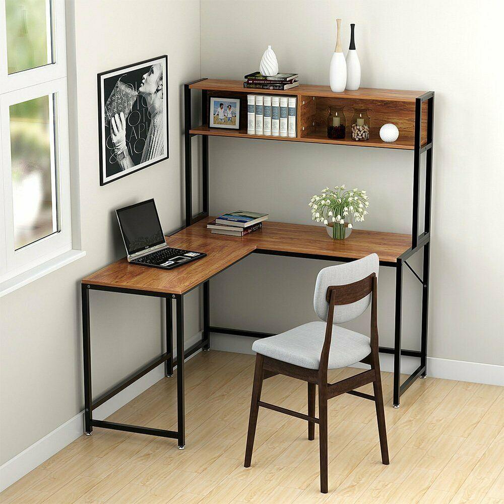 Corner Table Computer Desk Wooden L Shaped Workstation With Storage Shelf Office Affilink Desk Desksetup Desko Home Office Design Home Decor Home Furniture
