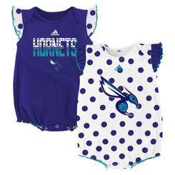 81fcac98b Girls Infant adidas Purple/White Charlotte Hornets Polka Fan 2-Pack Bodysuit  Set