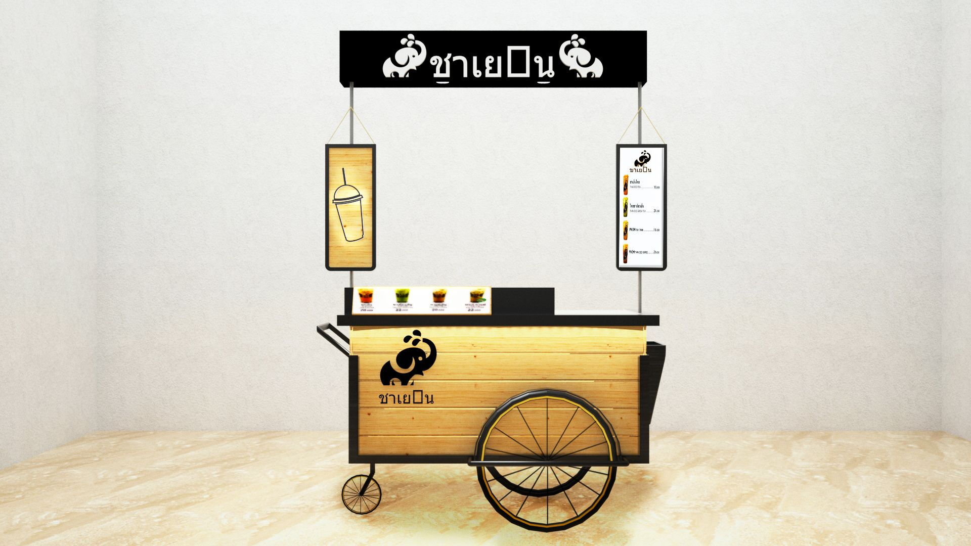 Thai Tea Booth Ideas Dimension Cm 120 X 60 X 80 Plywood Hpl
