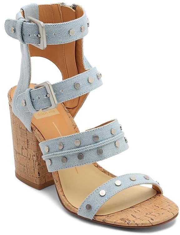 cf46c3ed18a Dolce Vita Women s Eddie Denim High Block Heel Gladiator Sandals ...