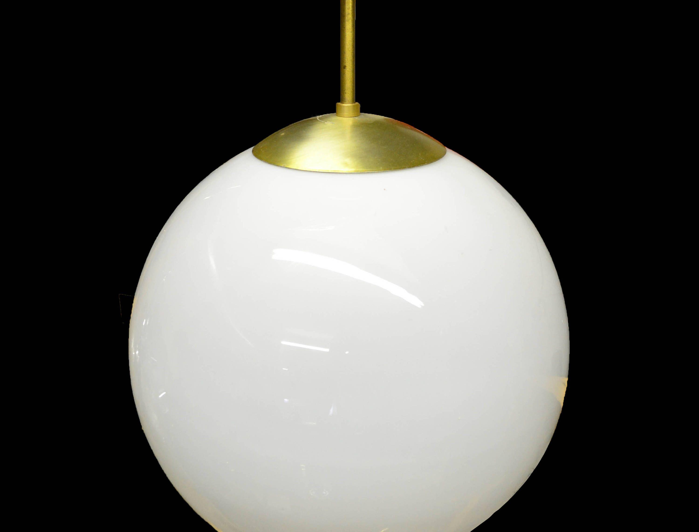 Mid Century Modern White Glass Globe Pendant Chandelier ...