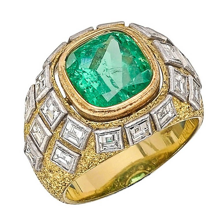 Buccellati Emerald Diamond Dome Ring centering on a cushion-cut emerald weighing approximately 2.03 carats, with twenty step-cut diamond accents weighing approximately 3.00 total carats, mounted in 18k yellow gold with diamonds set in 18k white gold