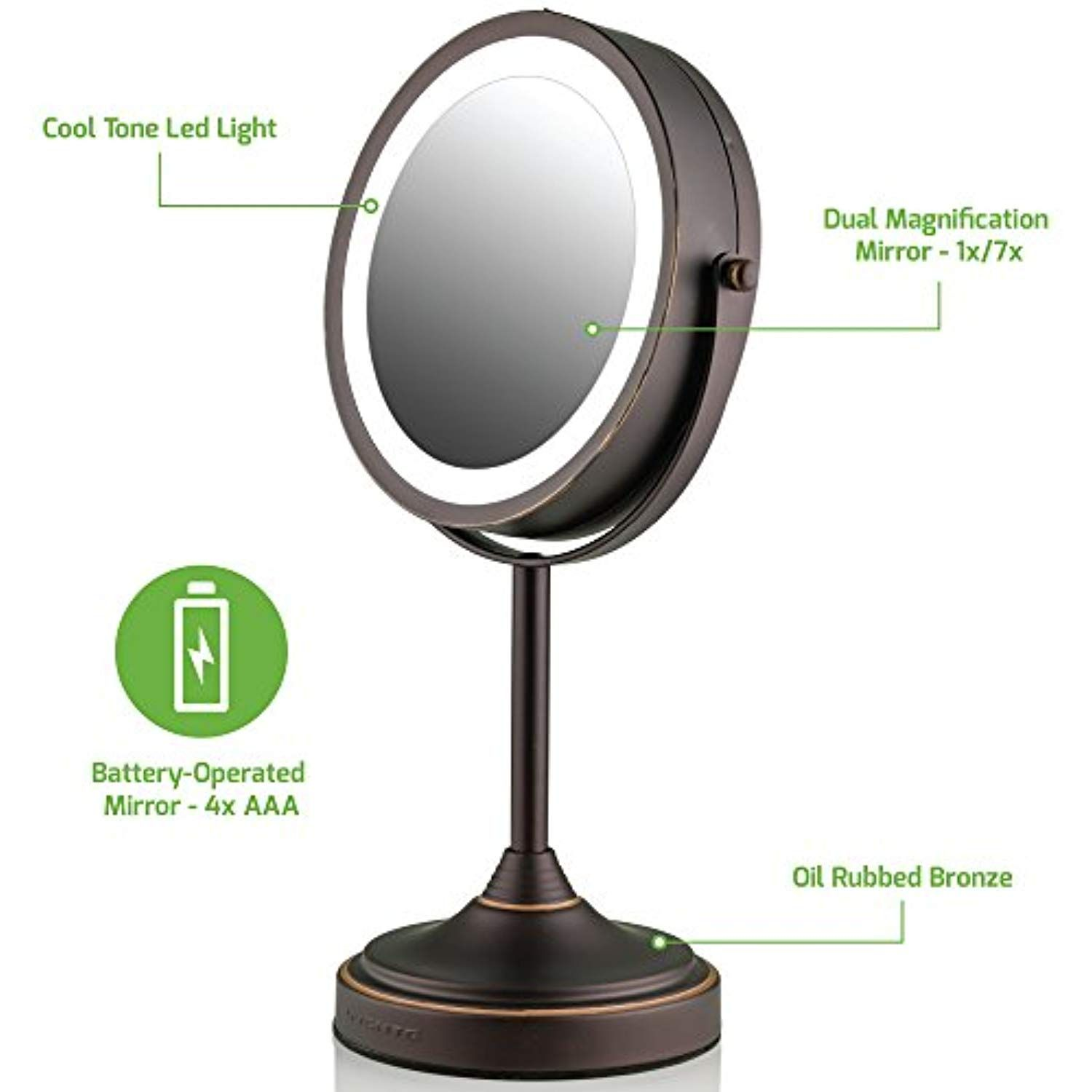 Ovente Led Lighted Tabletop Makeup Mirror 7 Inch Dual Sided 1x