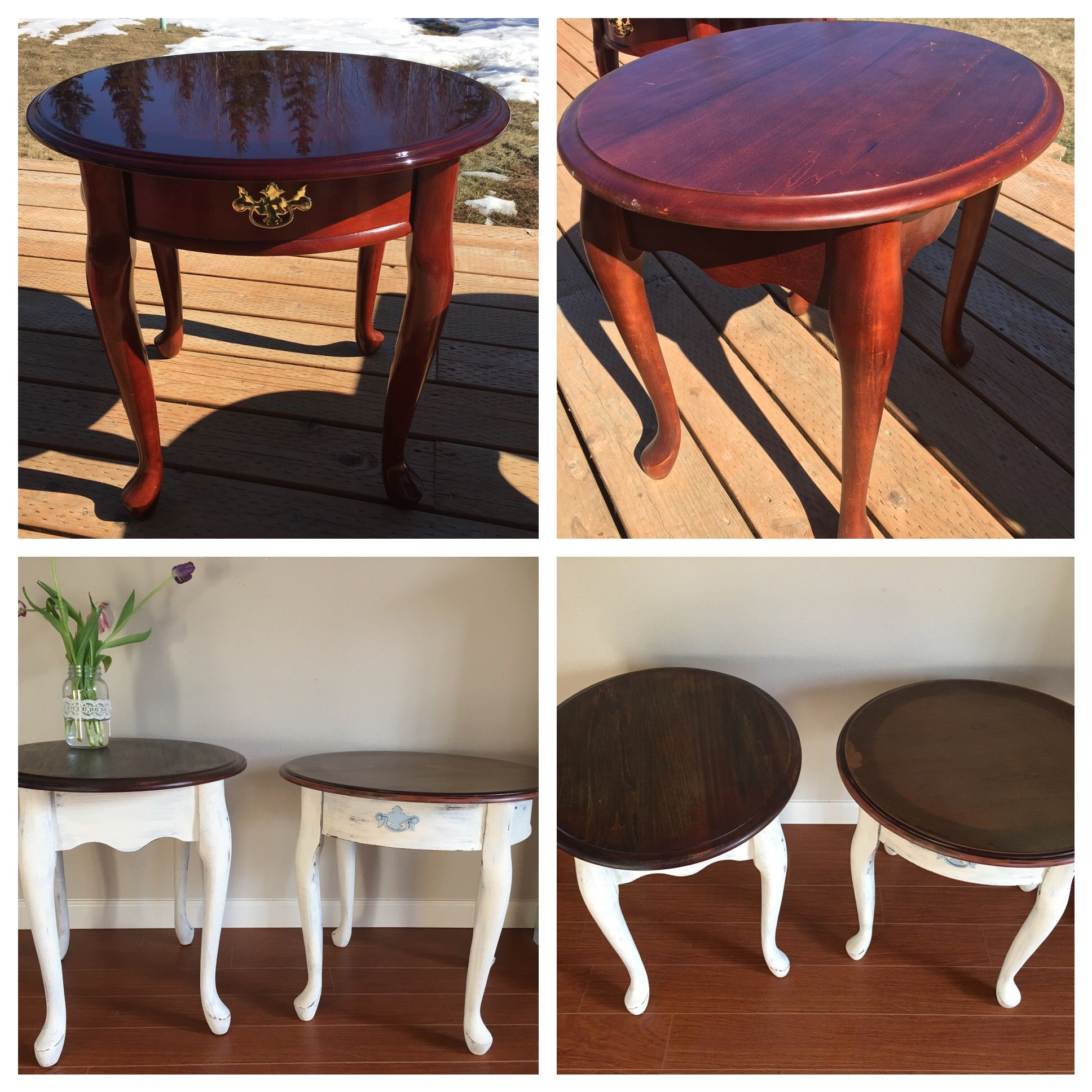 French side tables chalk painted and stained Furniture